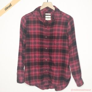[AE] Red Black Plaid Flannel Boyfriend Fit Shirt